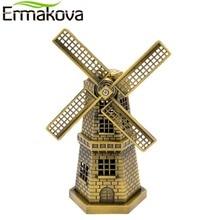 ERMAKOVA 18cm(7 Inch) Antique Bronze Dutch Windmill Model Metal Figurine Furnishing Article Holland Windmill Home Decor Ornament