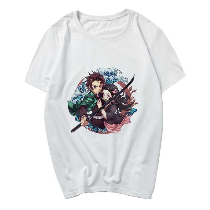 Dos desenhos animados Anime Kamado Tanjirou Kimetsu Demon Slayer Não Yaiba Unisex T Shirt Legal Moda Estilo Dos Homens Das Mulheres Modal O-PESCOÇO Curto tee