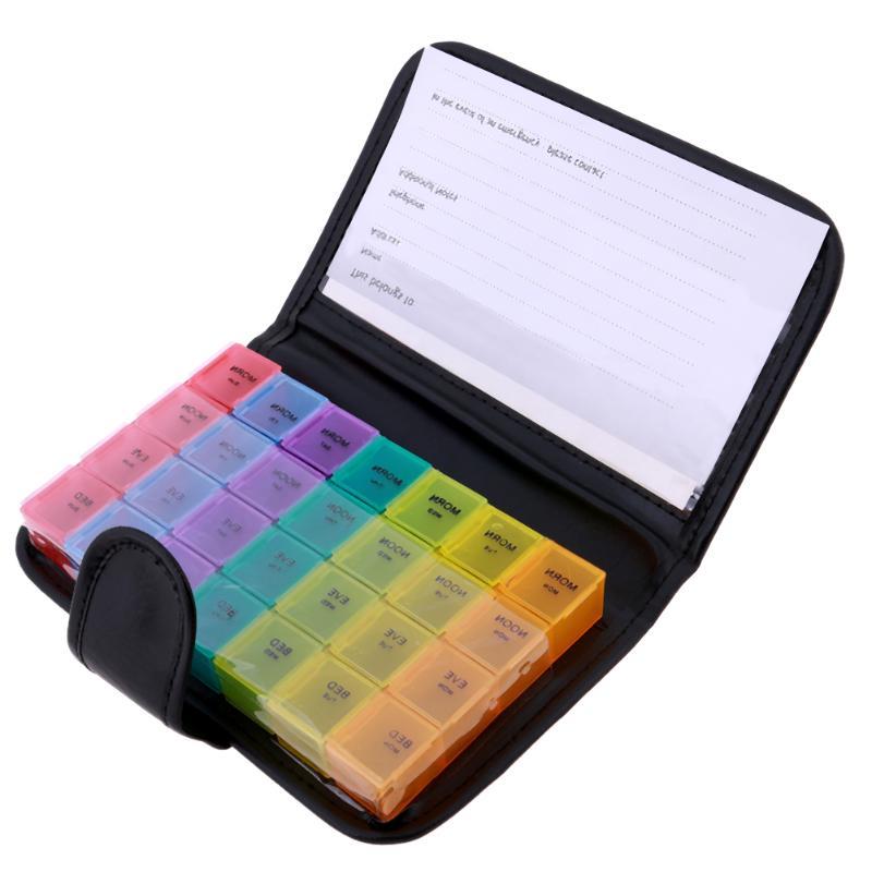 Tragbare 28 Grids Pillen Box Halter Tablet Pille Fall Medizin Speicherorganisator Gesunde Pflege Werkzeug Regenbogen Farbe mit Pu-beutel