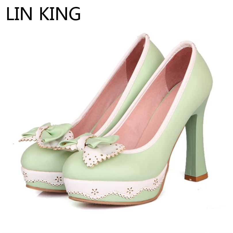 LIN KING Fashion Women Pumps Platform Lace Bowtie Cosplay Lolita Shoes Thin High Heels Round Toe Pringcess Wedding Shoes transparent cover enclosure plastic waterproof plastic housing 1 pcs 284 144 90mm distribution box project case