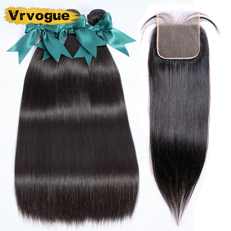 Vrvogue Hair Malaysia Straight Hair 3 Bundles with Closure 100 Remy Human Hair Extension Bundles With
