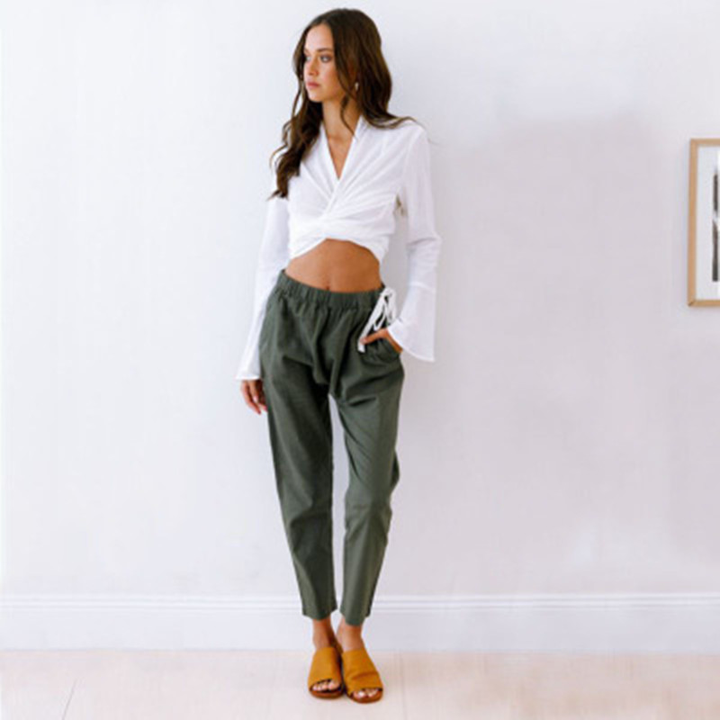 Loose Army Green Black Women Pencil   Pants   Pleated White Female Long   Pants     Capris