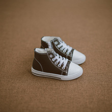 Children's leather high-top shoes boys and girls classic simple casual white shoes