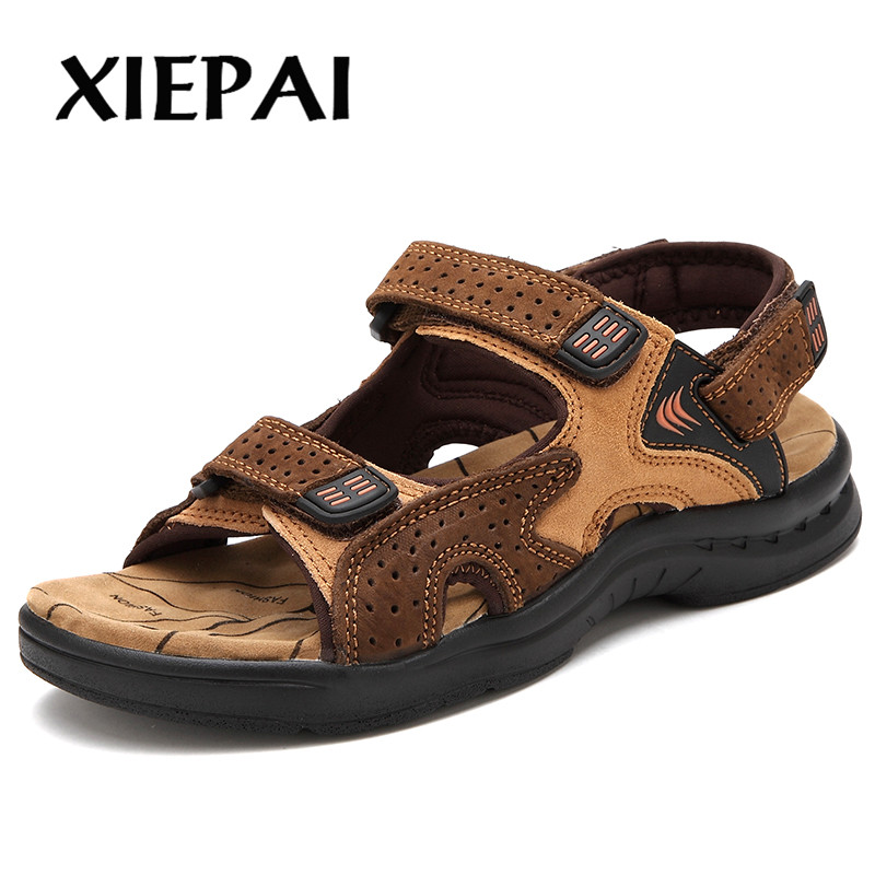XIEPAI Classic Men Genuine Leather Summer Sandals Size 38-44 Retro Style Male Casual Beach Shoes 3 Colors Black Yelow Brown