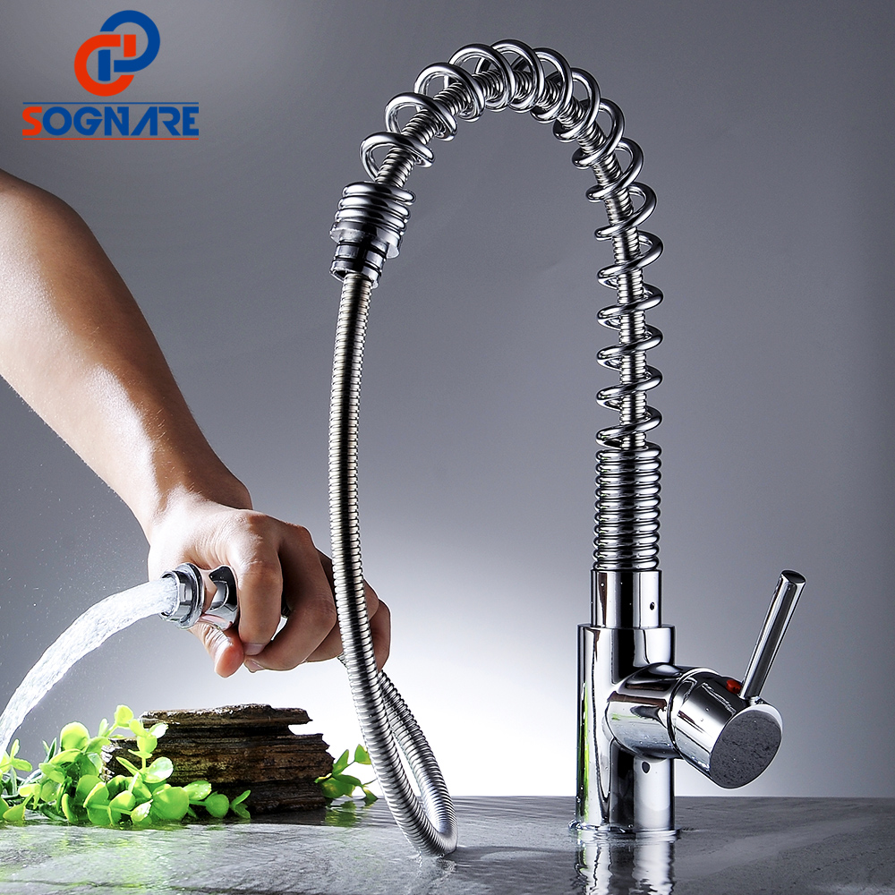 SOGNARE Kitchen Faucet Chrome Brass Pull Down Faucet for Kitchen Single Hole Handle Swivel 360 Degree