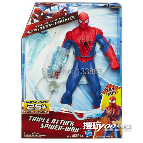 The <font><b>Amazing</b></font> <font><b>Spider</b></font> <font><b>Man</b></font> <font><b>2</b></font> 11 inch Action Figures Toy Spiderman PVC Figure Doll with sound, toys for kids,marvel toys