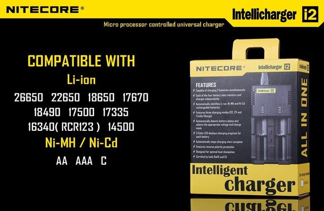 NiteCore i2 multi-function intelligent charger charge CR123A.16340.18650.17670.14500.26650.AA.AAA,Battery,Home/Car charger