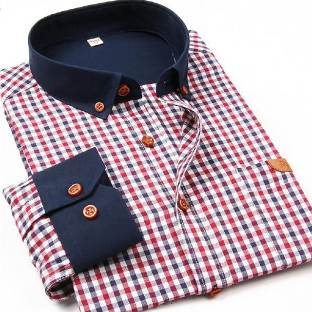 Famous Brand 2018 Men Shirts Men Fashion Long sleeve Checked Shirt ...