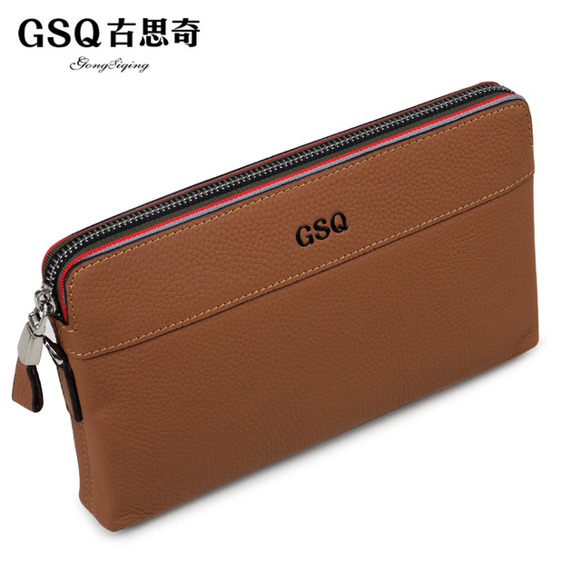 Gsq male clutch autumn fashion casual business clutch bag cowhide day clutch soft leather tote bag