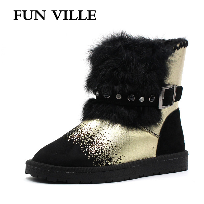 FUN VILLE New Fashion Woman snow boots gold silver Real Fur Wool Ankle boots warm Winter Shoes for Women size 34-43 new fashion lady warm winter wool zipper tube snow boots for women knight boots brown size 34 43 women boots shoes new