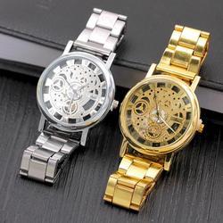 Gelegeerd staal riem perspectief non imitatie mechanisch horloge holle-mechanische horloge mode quartz h2