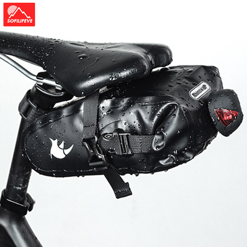 Waterproof Bike Saddle Bag Cycling Seat Pouch Bicycle Tail Rear bags Pannier MTB Road Bike Saddle Tube Bag Cycling equipment in Bicycle Bags Panniers from Sports Entertainment