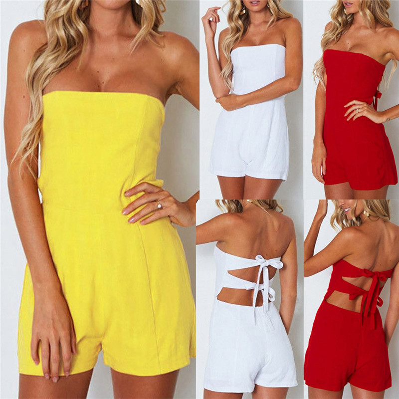 Women Ladies Pure color Bow Tie Backless Jumpsuit Shorts Polyester Solid Women s zaful Summer jumpsuit #52220
