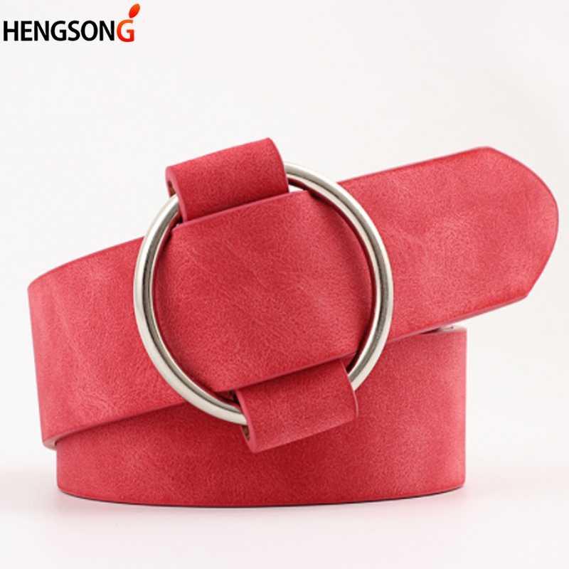 417ab30c2 Nueva Mujer casual redondo círculo de metal de gran hebilla cinturones para  las mujeres, vestido