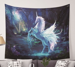 Image 1 - CAMMITEVER Unicorn Fairy Theme Wall Hanging Tapestry Cute Animal Hippie Mandala Yoga Mat Bedspread Sheets Home Decor