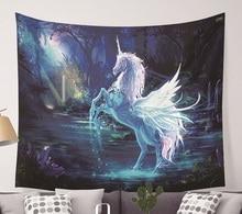 CAMMITEVER Unicorn פיות נושא קיר תלוי שטיח חמוד בעלי החיים היפי מנדלה יוגה מחצלת כיסוי מיטה גיליונות בית תפאורה