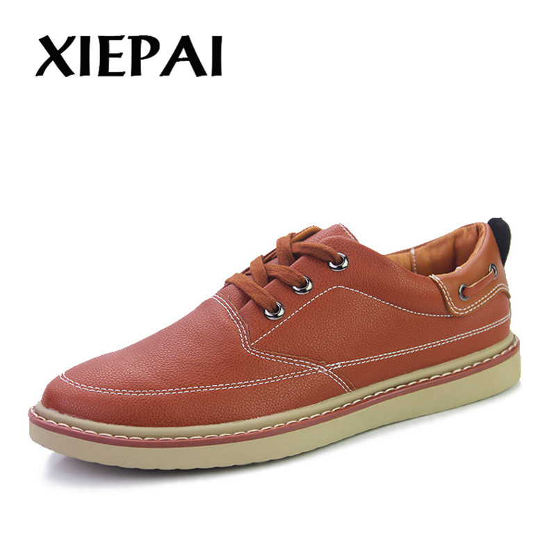XIEPAI Men PU Leather Sneakers Black Brown Blue Size 38-44 Breathable Summer Male Lace-up Flat Shoes Casual Shoes men s leather shoes new arrival lace up breathable vintage style casual shoes for male footwears zapatos size 38 44 8151m