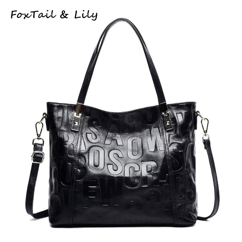 ФОТО FoxTail & Lily Fashion Letters Ladies Genuine Leather Tote Shoulder Bag Women Leather Handbags Famous Designer Messenger Bags