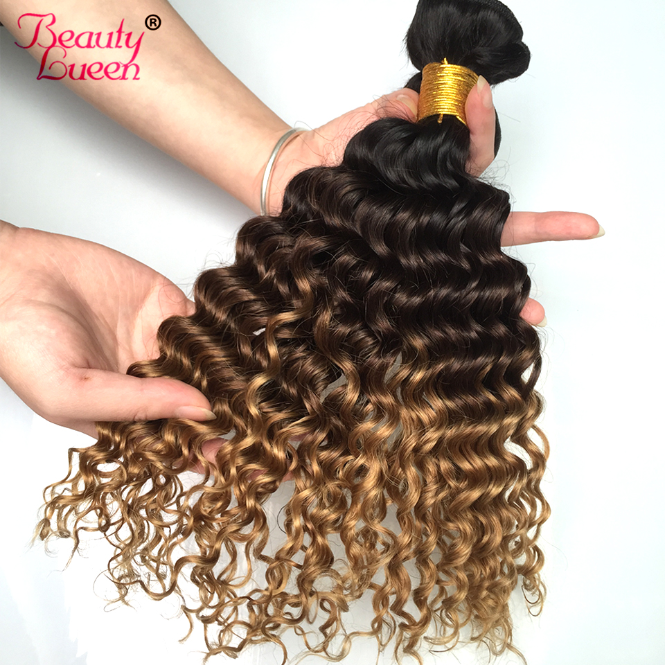 Ombre Malaysian Deep Wave Hair 3 Bundles 1b/4/27 Honey Blonde Non Remy Human Hair Bundles With Closure Extensions Beauty Lueen-in 3/4 Bundles from Hair Extensions & Wigs    3
