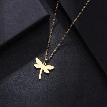 Ожерелье из нержавеющей стали DOTIFI для женщин и мужчин, ожерелье с подвеской в виде стрекозы золотистого и серебристого цвета для помолвки