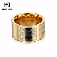 Kalen Fashion Rings For Women 2016 Black/Blue/White Zircon Gold  Stainless Steel Wedding Engagement Rings For Men Lovers