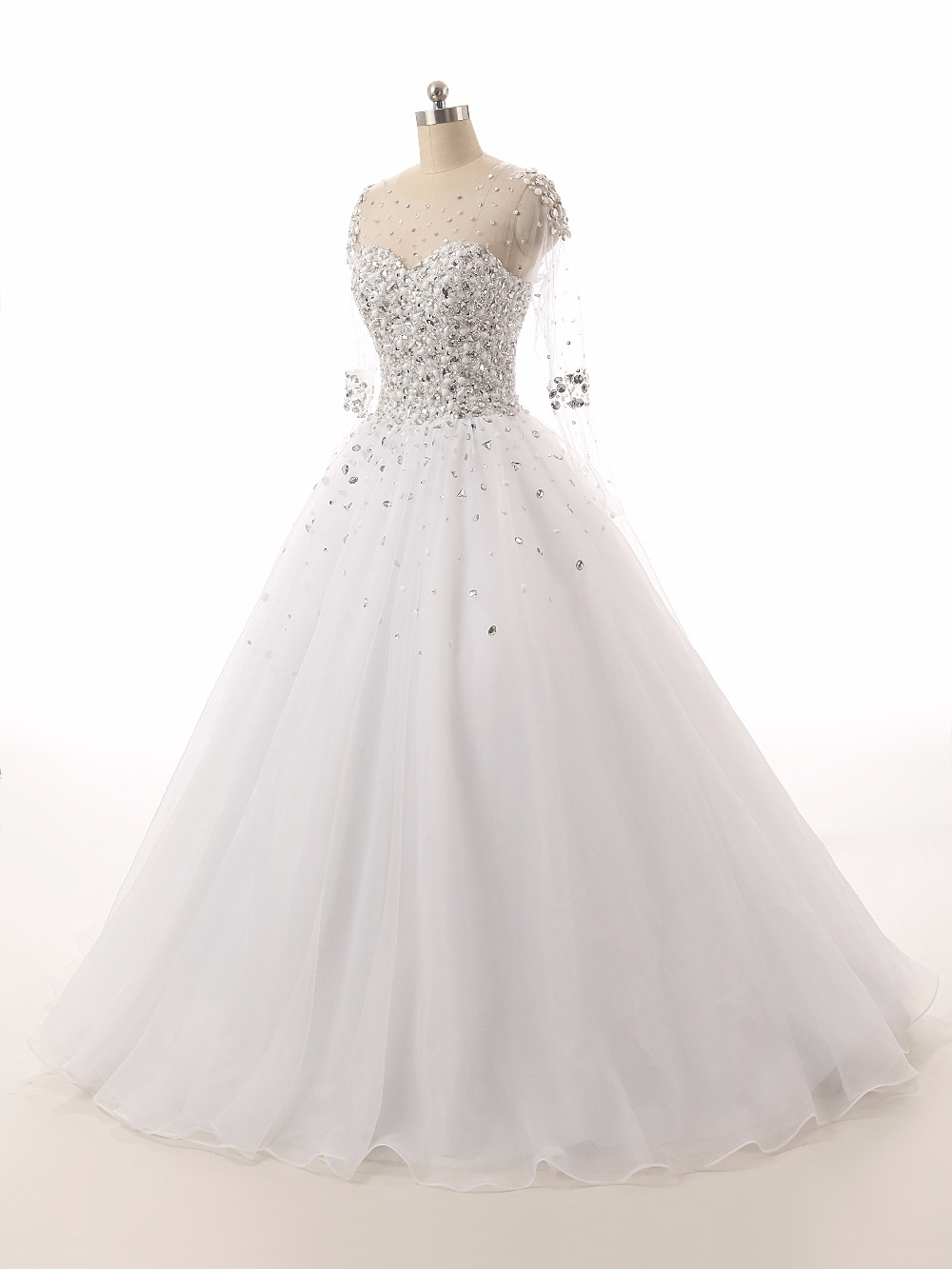vestido de noiva Beaded Sexy Wedding Dress 2016 V-Neck Short Sleeves Zipper Back Court Train Bride Gown Top Selling
