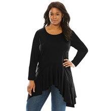 8c46c182475 Женская Осенняя Повседневная блузка большого размера черная с длинным  рукавом оборка подол плюс размер туника круглый