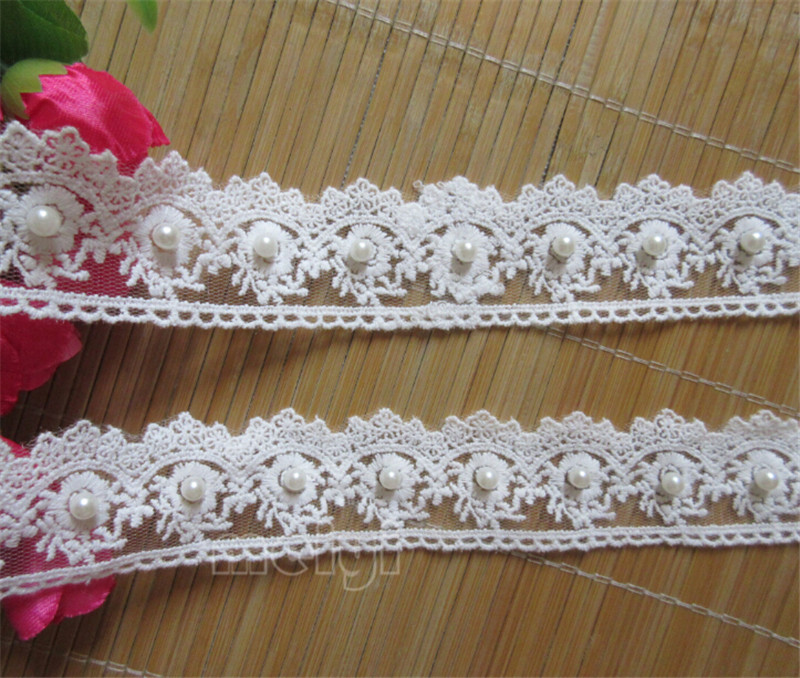 1m Ivory White Black Beaded Lace Bridal Wedding Trim Trimmings 70mm Width