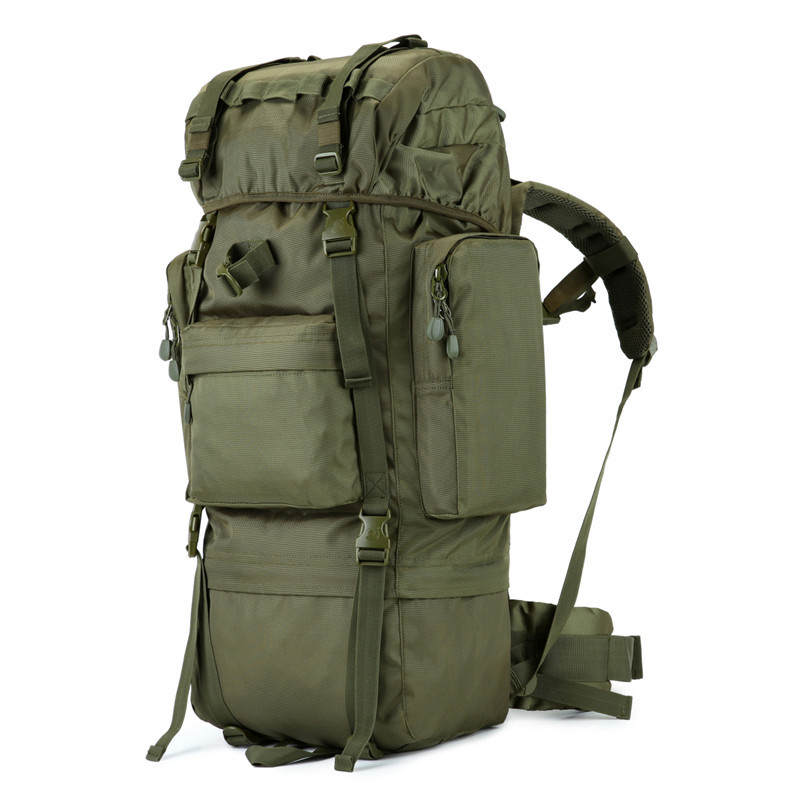 70L Metal stents multi-function waterproof Nylon bag Men's bags  military high grade ultra-large camouflage Backpack travel bag фото