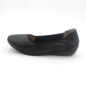 Image 2 - BEYARNE zapatos planos de piel auténtica para mujer, Bailarinas de mujer con punta puntiaguda negra de moda, zapatos planos de mujer bailarina de diseñador de marca