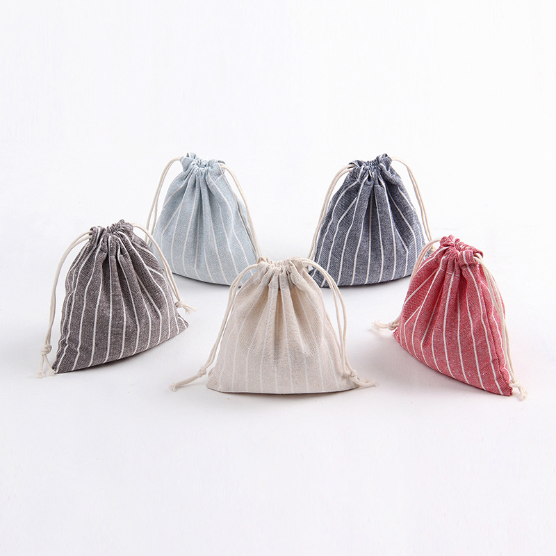 Pastoral Cotton Linen Drawstring Bag Vertical Stripe Gift Packaging Bag Women Coin Purse Home Storage Travel Clothing Finishing