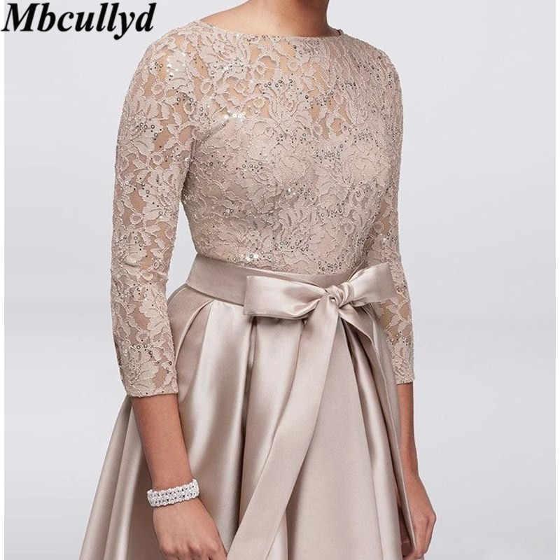 Mbcullyd vestidos de madre talla grande encaje apliques lentejuelas 3/4 mangas largas satén alto bajo fajas Madre de la novia vestido barato
