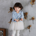 New Tulle Dress Baby Girls Outfits Clothes Infants Garment Spring 2017 Jacket+Dress 2 Pieces/Set 0-3 Years Old Kids Clothing