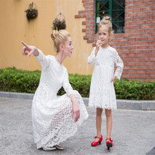 Family Look Mother Daughter Dresses Mom Girl Wedding White Black Dress Party Outfits for Female  Matching Clothes Lace Clothing