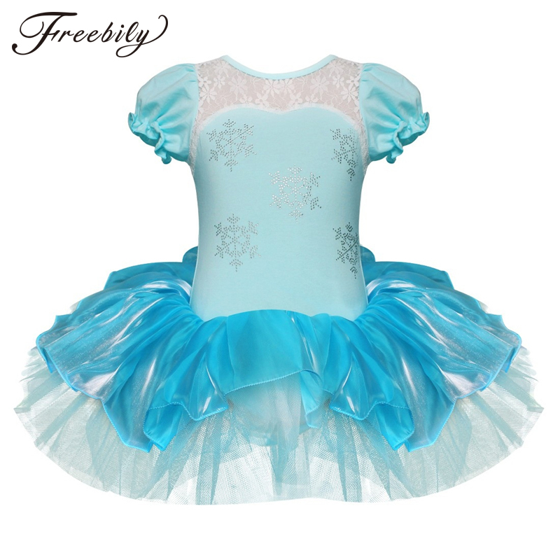 Children Girls Ballet Tutu Dress Flower Snowflake Sequins Ballet Leotards Kids Princess Stage Performance Dance Costumes