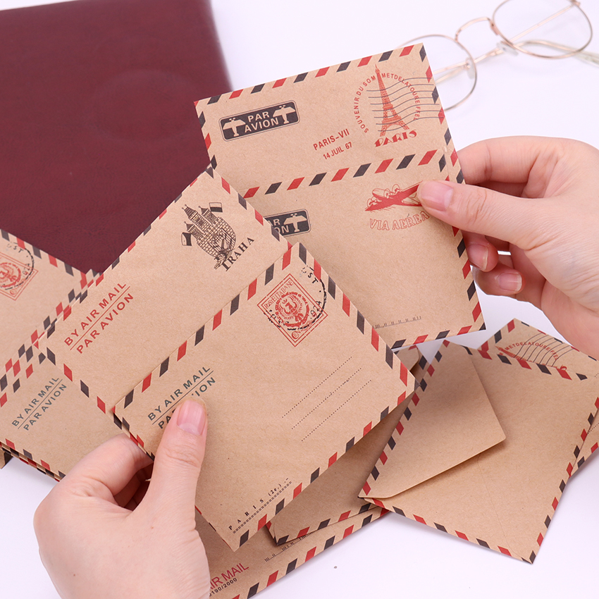 10 шт. мини Винтаж Париж Бумага конверт модные милые конверты из крафт-бумаги Kawaii корейский Канцелярские для карт
