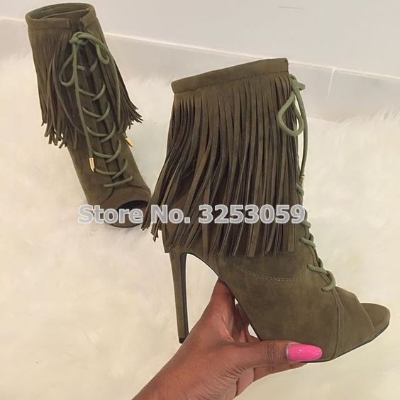 Army Green Brown Beige Black Suede Leather Open Toe Ankle Boots Lace-up Drape Fringe Dress Shoes Ultra High Heel Nightclub Shoes army green lace up design v neck cold shoulder irregular hem dress