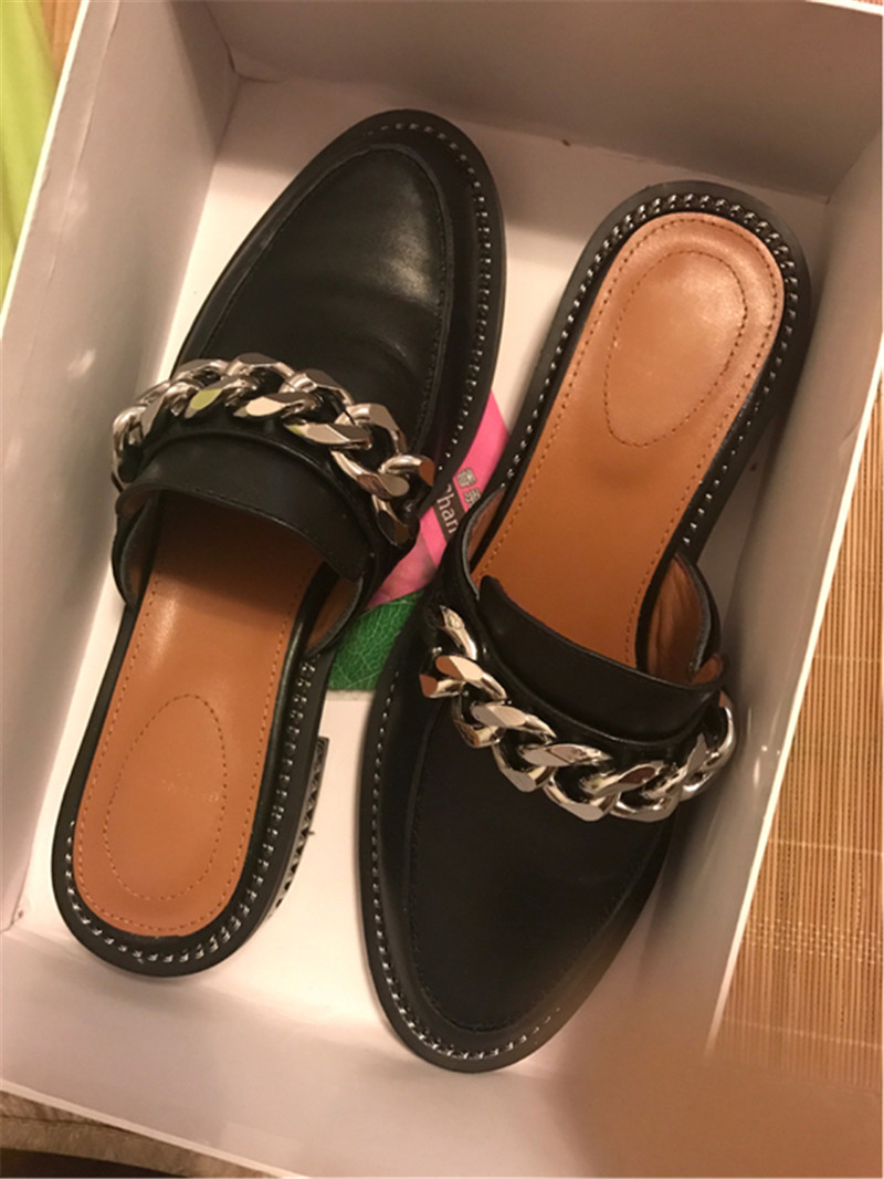 Fashion Chains Slippers Women Black White Pink Quality Leather Round Toe Flat Cover Toe Runway Shoes Summer Shoes Woman