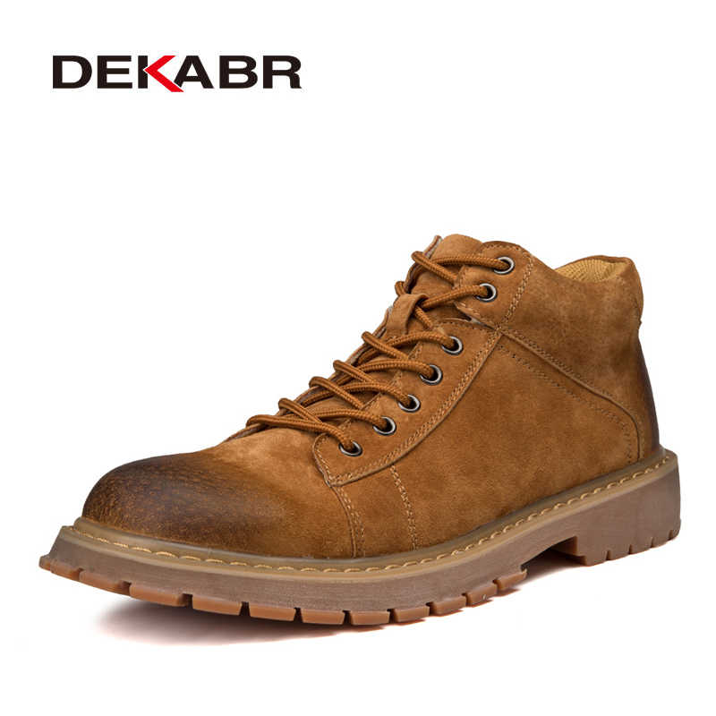 32889cb40ae94 DEKABR New Men Leather Boots Fashion Autumn Winter Top Brand Ankle Boots  Lace Up Men Shoes