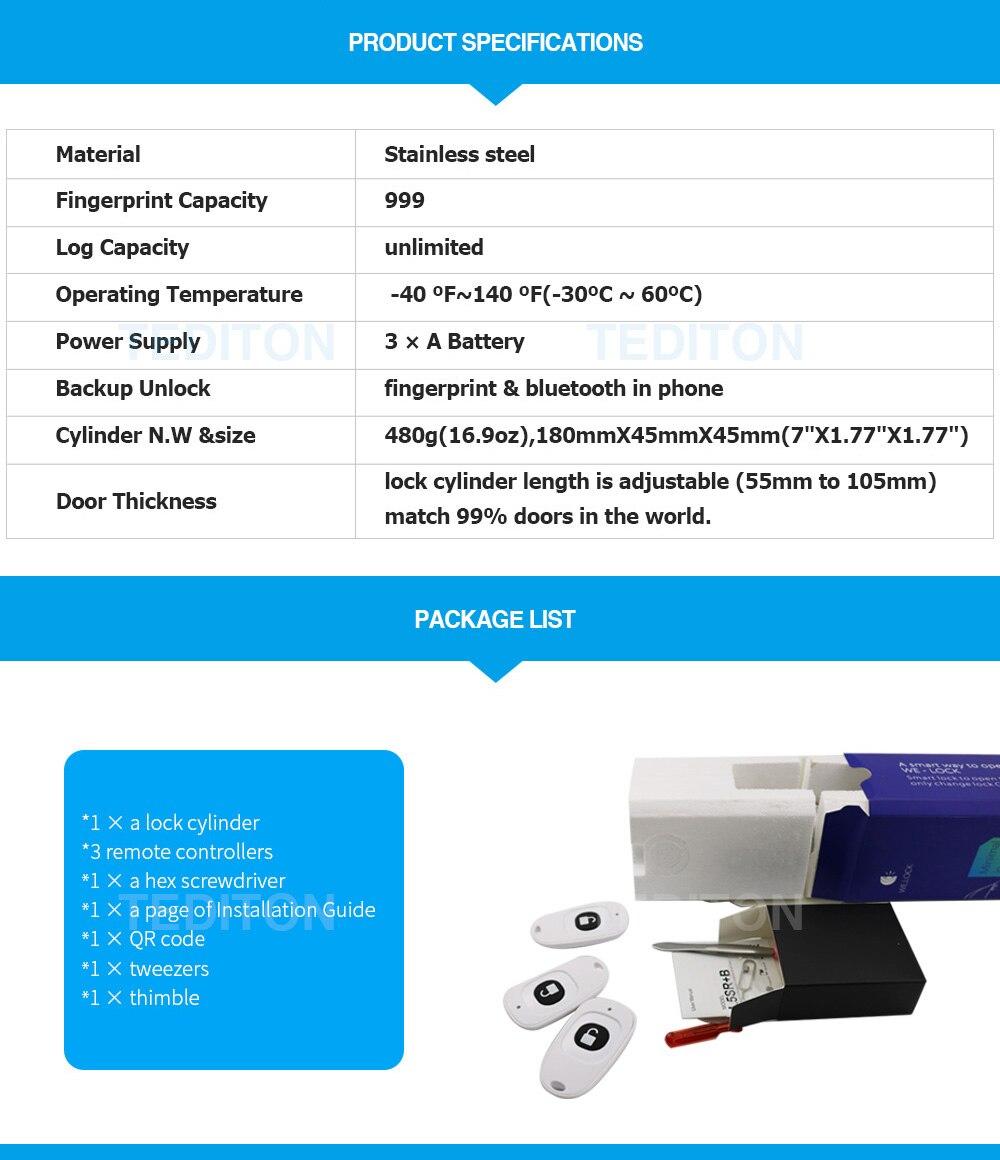HTB1S5PkBOCYBuNkSnaVq6AMsVXaA L5SR-Plus WELOCK Bluetooth APP Smart Lock Electronic Cylinder Outdoor Waterproof Keyless Biometric Fingerprint Scanner door lock