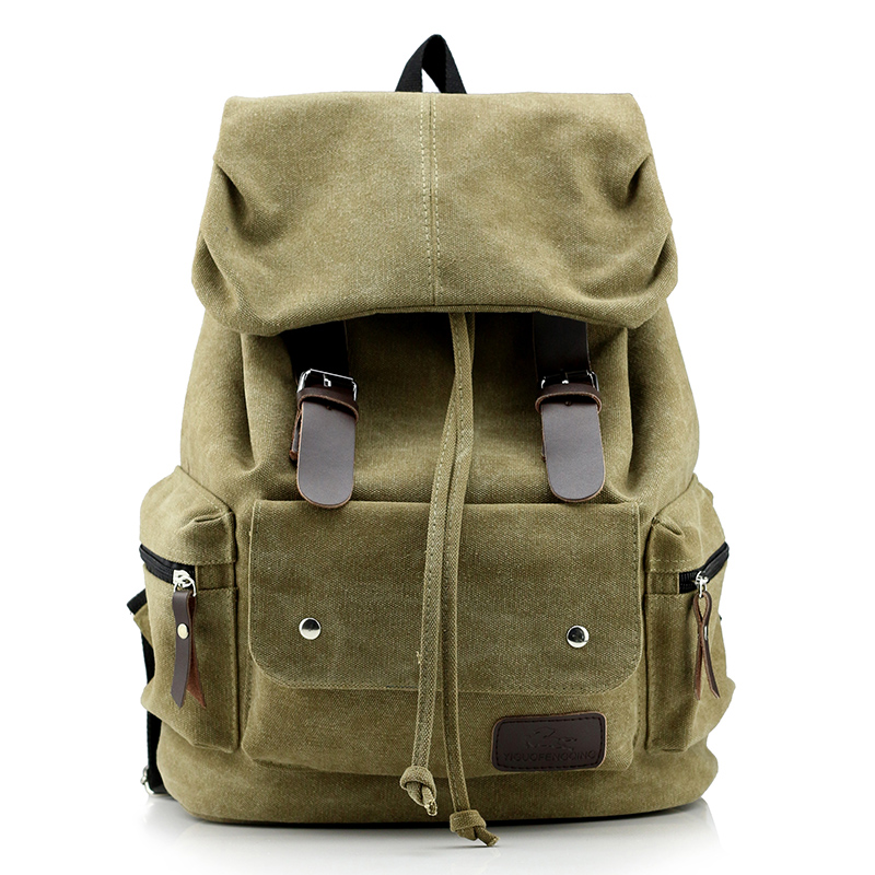e99f5ddf1d90 Vintage Leather Military Shoulder Bag Men Women Backpack Male School Bag  2018 Unisex Rucksack Casual Canvas