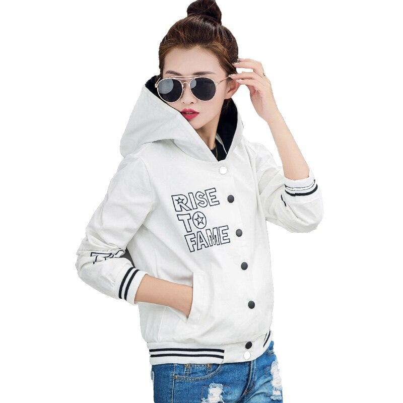 Basic     Jackets   2016 Autumn   Jacket   Women Letter Casual Coat Female Hooded Pockets baseball Slim   Jackets   Big size S-XL S2679