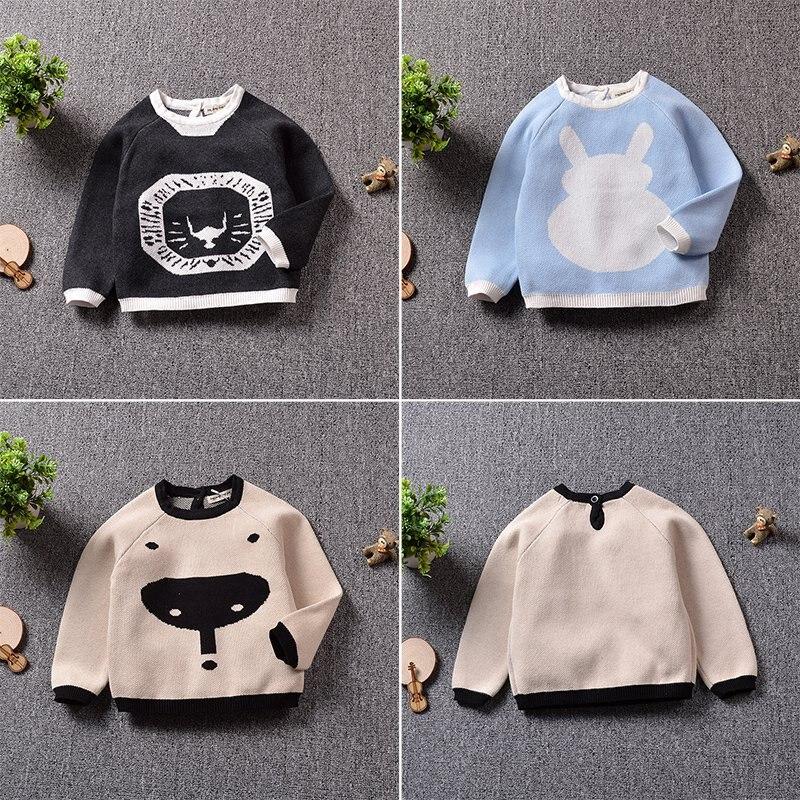Baby Boys Girls Sweater Toddler Girls Jumper Knitwear Printing Animal Long-Sleeve Pullover