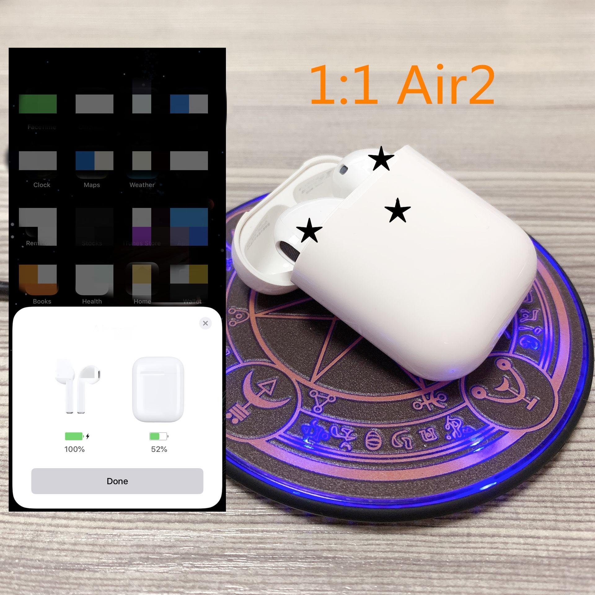 1:1 air marque 2 avec étui de charge sans fil Bluetooth casque stéréo écouteurs de musique pour IOS avec puce H1 PK i30 i20 i60 tws