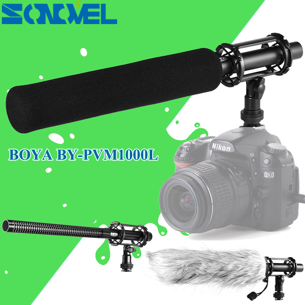 BOYA BY-PVM1000L Professional Cameras Video Broadcast Condenser Shotgun Interview MIC 3.5mm Microphone for Canon Nikon Sony DC