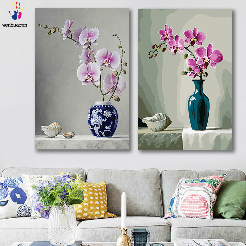 Able Diy Colorings Pictures By Numbers With Colors Pink Orchid Flower Arrangement Picture Drawing Painting By Numbers Framed Home Arts,crafts & Sewing