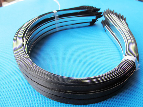 100pcs 5mm Wide Metal Headband Hairband Pendant Charm Finding Sticked Black Ribbon Outer DIY Fashion Accessory