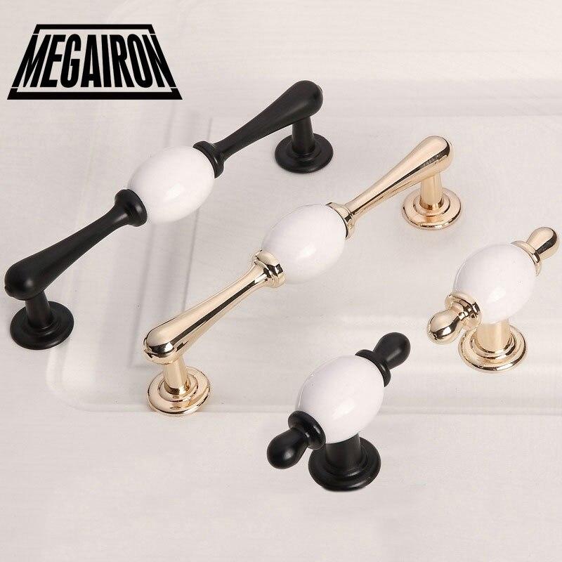 MEGAIRON Керамика мебельные ручки Sub Черное золото Европейский сад ручка современный шкаф дверная ручка