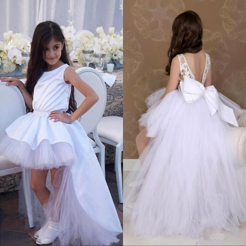 High Low Tulle Satin   Flower     Girl     Dress   with Big Bow V-Back Jewel Neck   Girls   Pageant Gowns Lovely Birthday Party Gown Custom Made