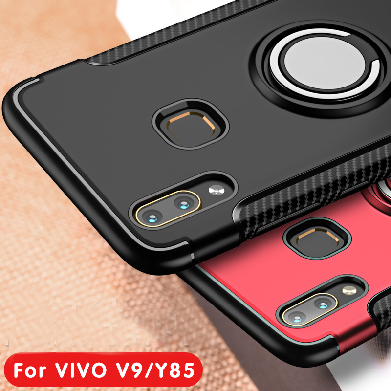 new product b94bf e6702 US $1.49 25% OFF|Shockproof Hybrid For VIVO V9 Y85 Cover 360 Magnetic Ring  Car Holder Stand Soft TPU Silicone Gel + Hard PC Case For VIVO Y85 V9-in ...
